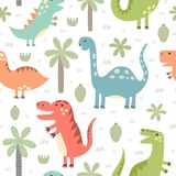 Cute dinosaurs seamless pattern. Vector illustration in childish style great for fabric and textile, wallpapers, web page backgrounds, cards and banners design Stock Photos