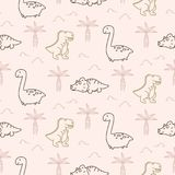 Cute dinosaurs seamless vector pattern. Funny animals repeat background for kids apparel and textile print Stock Photography