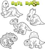Cute dinosaurs, set of images Stock Images