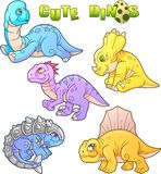 Cute dinosaurs, set of images Stock Photo