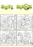 Cute dinosaurs, set of images