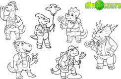 Cute dinosaurs set of images Royalty Free Stock Image