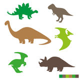 Cute dinosaurs silhouettes set. Collection of dino Royalty Free Stock Photos