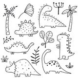 Cute dinosaurs and tropic plants stock illustration