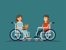 Cute disabled boy and girl kid sitting in a wheelchair and keep the puppy on one`s knees. Handicapped person. Stock Photos