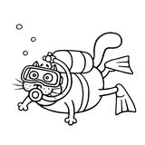 Cute diver cat dived with an aqualung. Vector illustration. royalty free stock photos