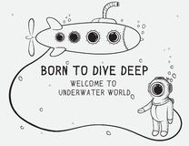 Cute diver dives from submarine to deep sea. Royalty Free Stock Photography