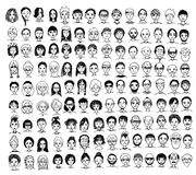 Cute and diverse hand drawn faces. Collection of cute and diverse hand drawn faces in black and white Royalty Free Stock Image