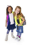 Cute Diverse young school students stock photos