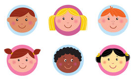 Cute diversity kids icons or buttons - pink / blue vector illustration