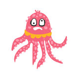 Cute dizzy cartoon pink octopus character with rotating eyes, funny ocean coral reef animal vector Illustration Stock Images