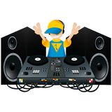 Cute DJ with a turntable and two speakers Stock Photos