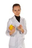 Cute Doctor with emena. Royalty Free Stock Photography