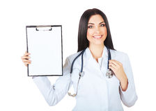 Cute doctor with folder and stethoscope Royalty Free Stock Image