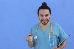 Cute doctor nerd with man bun and copy space Royalty Free Stock Images