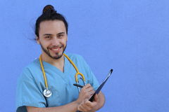 Cute doctor nerd with man bun and copy space Stock Photo