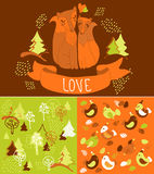 Cute doddle background with foxes Stock Images