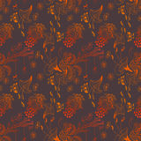 Cute doddle night forest pattern Royalty Free Stock Photos