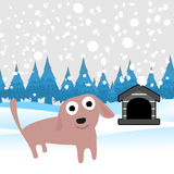 Cute dog. With snowflakes  background illustration vector Royalty Free Stock Photo