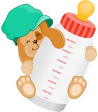 Cute dog baby with bottle milk. Scalable vectorial image representing a cute dog baby with bottle milk, on white royalty free illustration