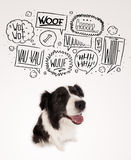 Cute dog with barking bubbles Royalty Free Stock Photography