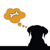 Cute dog with a bone in his mind illustration Royalty Free Stock Photo