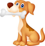 Cute dog with bone. Illustration of Cute dog with bone stock illustration