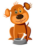 Cute dog with a bone. Vector illustration of a cute dog with a bone in his bowl Royalty Free Stock Photo