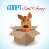 Cute dog in a box with Adopt Don't buy text. Homeless animals concept, pets adoption theme. Vector illustration Stock Photo
