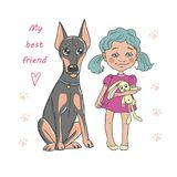 Cute dog breed doberman and funny little girl with toy. Royalty Free Stock Photography