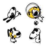 Cute comic dog monochrome sticker set. Cute dog calling phone sticker set. Monochrome puppy collection design. Simple black white sketch vector illustration Stock Photo