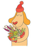 Cute dog in cap and mittens holding autumn bouquet Royalty Free Stock Photo