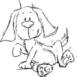 Cute dog cartoon - black sketch Royalty Free Stock Photography