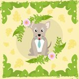 Cute dog cartoon. On leaves frame vector illustration graphic design Stock Images