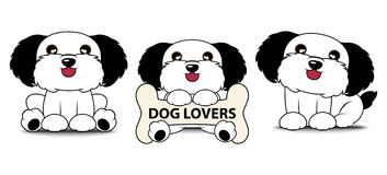 3 Cute Dog Cartoon Logo with Label Vector Illustration Royalty Free Stock Photography