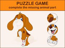 Cute dog cartoon sitting. Complete the puzzle and find the missing parts of the picture. Illustration of Cute dog cartoon sitting. Complete the puzzle and find Stock Photography