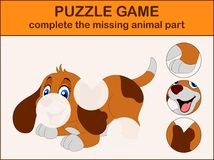 Cute dog cartoon sitting. Complete the puzzle and find the missing parts of the picture. Illustration of Cute dog cartoon sitting. Complete the puzzle and find Royalty Free Stock Images
