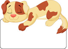 Cute dog cartoon sleeping on the white blank label Stock Photo