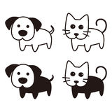 Cute dog and cat cartoon flat icon design, vector. Illustration Royalty Free Stock Images