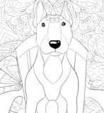 Adult coloring book,page a cute dog on the chair on the abstract background image for relaxing.Zen art style illustration. A cute dog on the chair on the royalty free illustration