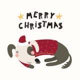 Cute dog Christmas card vector illustration