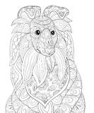 Adult coloring page a cute dog  for relaxing.Zen art style illustration. Stock Photo
