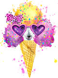 Cute Dog. Dog T-shirt graphics. watercolor Dog illustration background. Royalty Free Stock Image