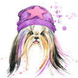 Cute Dog. Dog T-shirt graphics. watercolor Dog illustration background.