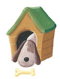 Cute dog in the doghouse. Acrylic illustration of cute dog in the doghouse vector illustration
