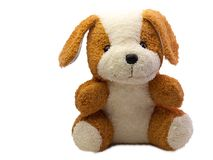 Cute dog doll. Isolated on white background. with free space for text Royalty Free Stock Image