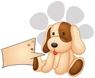 A cute dog with an empty rectangular template Royalty Free Stock Images