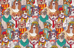 Cute dog fashion hipster seamless pattern. Royalty Free Stock Photo