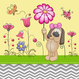 Cute Dog with a Flower. Greeting card Cute Dog with a flower on a meadow royalty free illustration