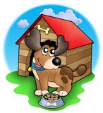 Cute dog in front of kennel. Color illustration Stock Image